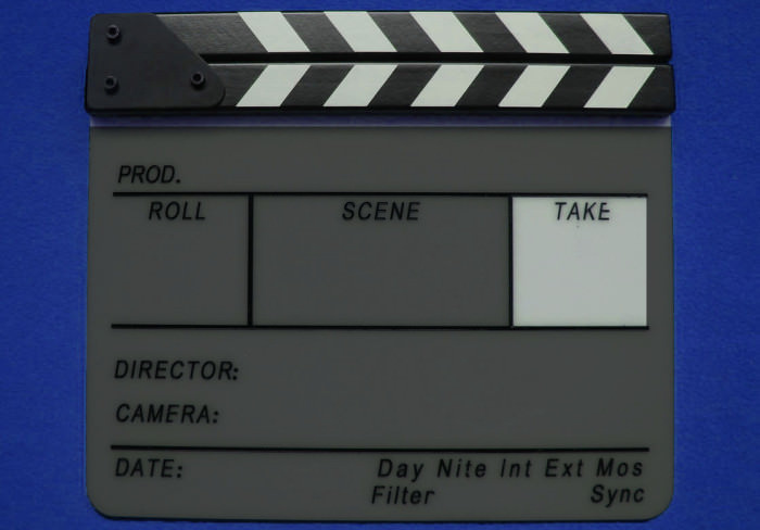 Take Section of a Film Slate Clapperboard